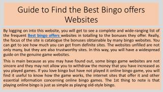 Guide to Find the Best Bingo offers Websites