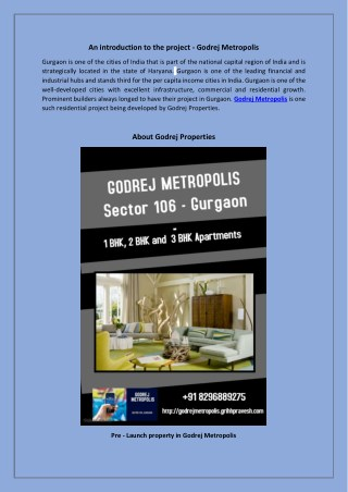 Godrej Metropolis - Pre - Launch residential apartments in sector 106 Gurgaon