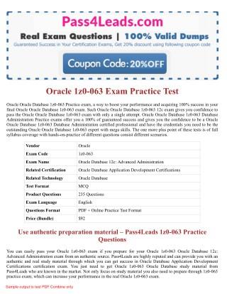 Oracle 1z0-063 Exam Dumps - 1z0-063 PDF Questions