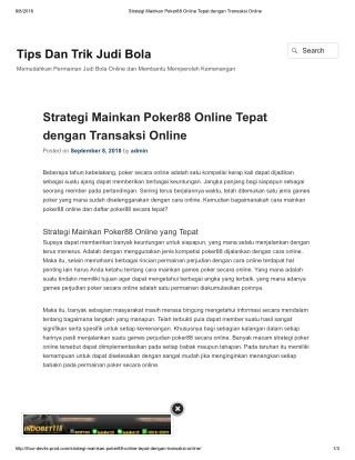 Strategi Mainkan Poker88 Online Tepat dengan Transaksi Online