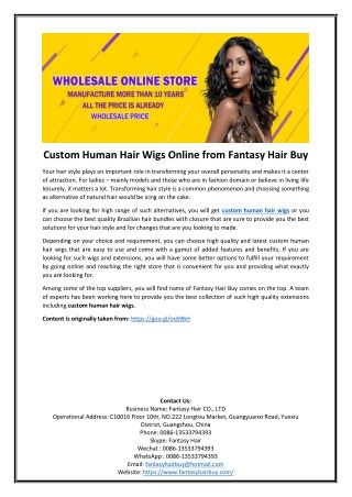 Custom Human Hair Wigs Online from Fantasy Hair Buy