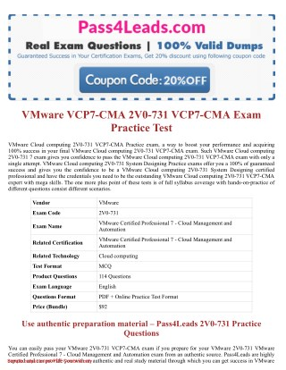 2V0-731 Exam Practice Test Online - 2018 Updated with 30% Discounted Price