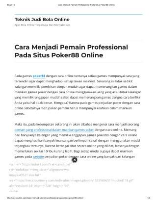 Cara Menjadi Pemain Professional Pada Situs Poker88 Online