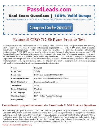 Eccouncil 712-50  Exam Practice Questions - 2018 Updated