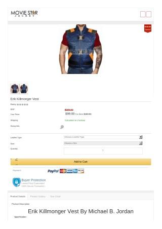 Black Panther Erik Killmonger Vest   Halloween jackets