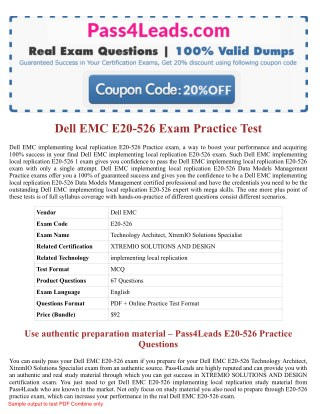 2018 Updated E20-526  Exam Practice Questions