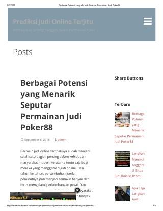 Berbagai Potensi yang Menarik Seputar Permainan Judi Poker88