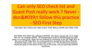 Can only SEO check list and Guest Post really work ? Never - don't follow this practice - SEO First Step