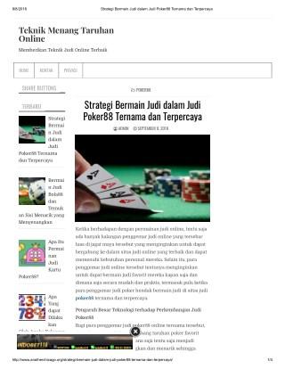 Strategi Bermain Judi dalam Judi Poker88 Ternama dan Terpercaya