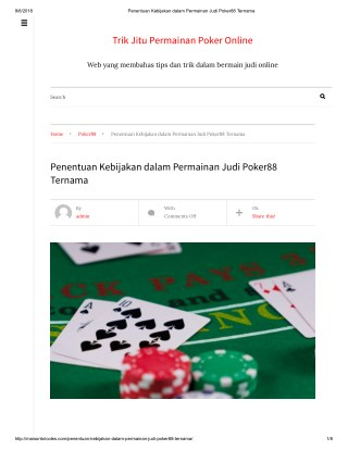 Penentuan Kebijakan dalam Permainan Judi Poker88 Ternama