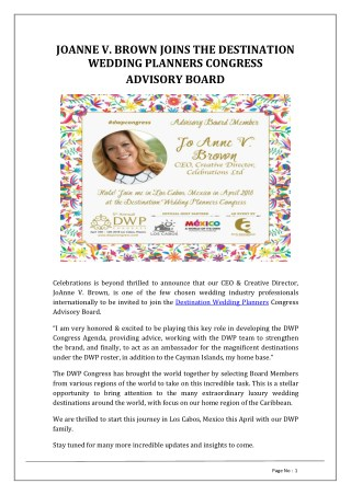JOANNE V. BROWN JOINS THE DESTINATION WEDDING PLANNERS CONGRESS ADVISORY BOARD | Celebrations LTD