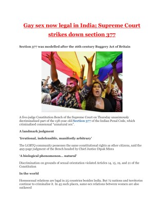 Gay sex now legal in India; Supreme Court strikes down section 377