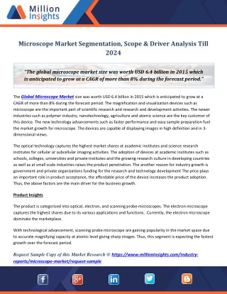 Microscope Market Segmentation, Scope & Driver Analysis Till 2024