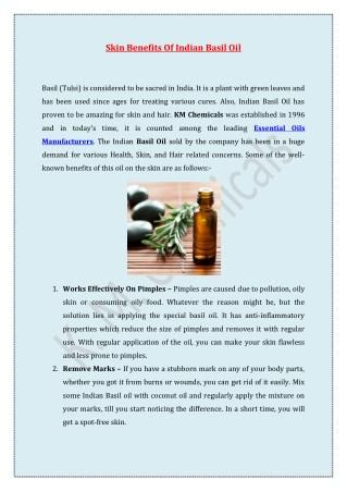 Skin Benefits Of Indian Basil Oil