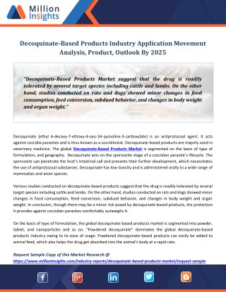 Decoquinate-Based Products Industry Application Movement Analysis, Product, Outlook By 2025