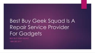 Best Buy Geek Squad Is A Repair Service Provider For Gadgets- Free PPT