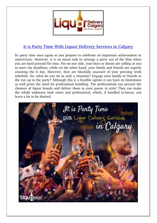 It is Party Time With Liquor Delivery Services in Calgary