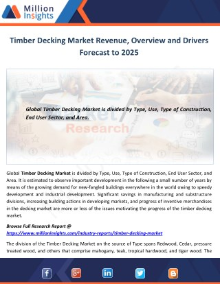 Timber Decking Market Revenue, Overview and Drivers Forecast to 2025