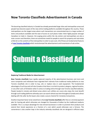 Now Toronto Classifieds Advertisement in Canada