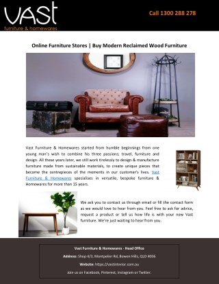 Online Furniture Stores | Buy Modern Reclaimed Wood Furniture
