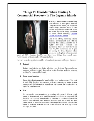 Things to Consider When Renting a Commercial Property in the Cayman Islands - REM services