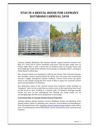 Stay in a Rental House for Cayman's Batabano Carnival 2018 - REM services