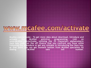 McAfee.com/activate | Enter McAfee Activation Code