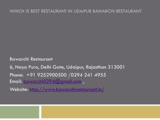 Which is Best Restaurant in Udaipur Bawarchi Restaurant