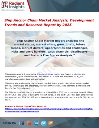 Ship Anchor Chain Market Analysis, Development Trends and Research Report by 2025