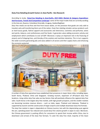 Asia Pacific Duty Free Retailing Market Future Outlook, Asia Pacific Duty Free Retailing Market Competition-Ken Research