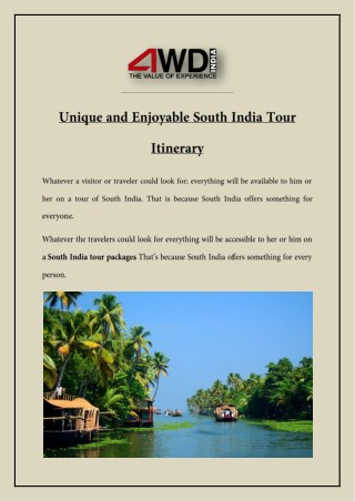 Unique and Enjoyable South India Tour Itinerary