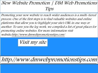 New Website Promotion | DM Web Promotions Tips