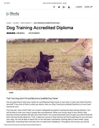 Dog Training Accredited Diploma - istudy