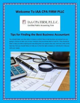 Accounting Firms in Texas, Tax Preparation Plano at iaacpafirm.com
