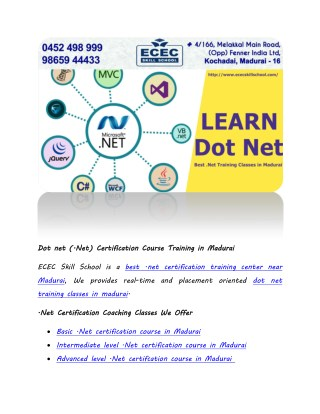 Dot net (.Net) Certification Course Training in Madurai
