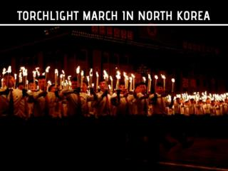 Torchlight march in North Korea