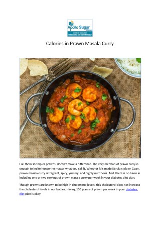 Calories in Prawn Masala Curry