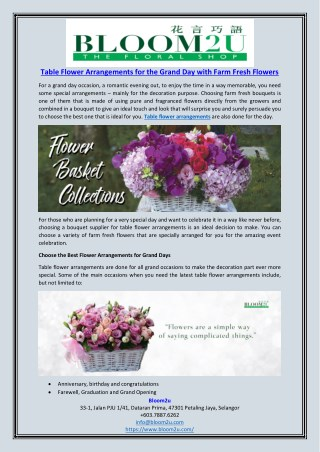 Table Flower Arrangements for the Grand Day with Farm Fresh Flowers