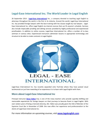 Legal-Ease International Inc. The World Leader in Legal English