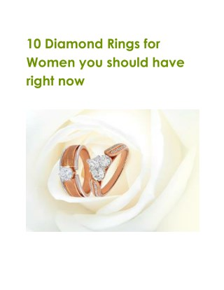 10 Diamond Rings for Women you should have right now