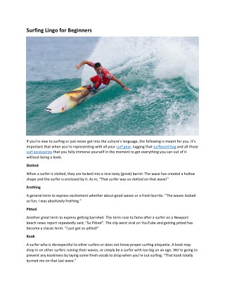 Surfing Lingo for Beginners