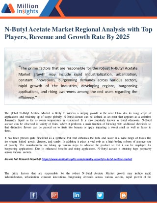 N-Butyl Acetate Market  Regional Analysis With Top Players, Revenue And Growth Rate By 2025