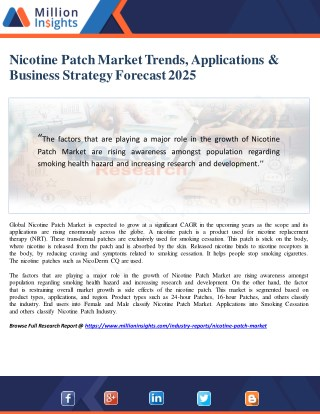 Nicotine Patch Market Trends, Applications & Business Strategy Forecast 2025