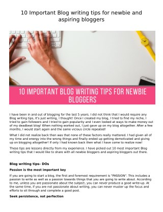 10 blogging tips for Newbie bloggers