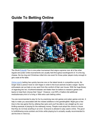 Guide To Betting Online