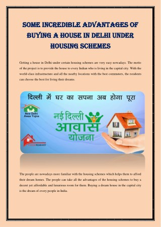 Some Incredible Advantages Of Buying A House In Delhi Under Housing Schemes