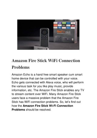 Amazon Fire Stick WiFi Connection Problems