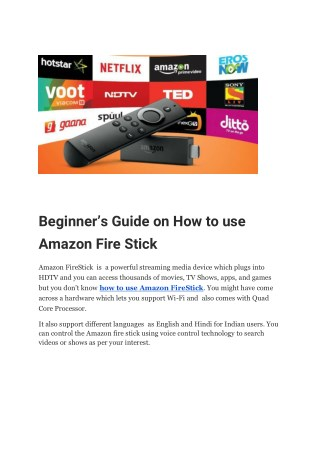 Beginner's Guide on How to use Amazon Fire Stick