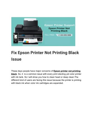Fix Epson Printer Not Printing Black Issue