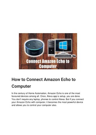 How to Connect Amazon Echo to Computer